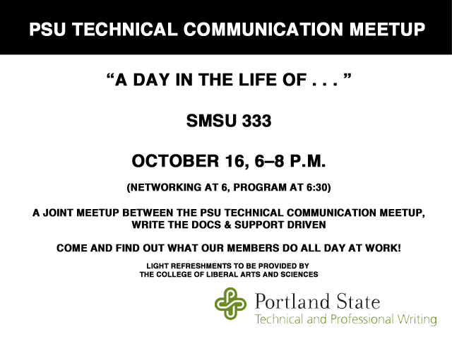Join us Tuesday, Oct  16, 6–8 p m  for PSU Tech Comm Meetup